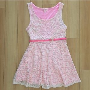 Candies Hot Pink and Cream Lace Dress